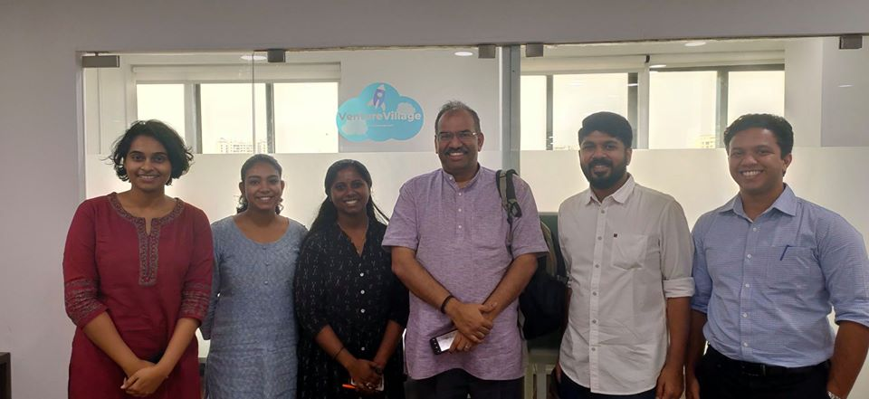 Muralee Thummarukudy, Chief of Disaster Risk Reduction in the UN Environment Programme, visits VentureVillage office in Kochi