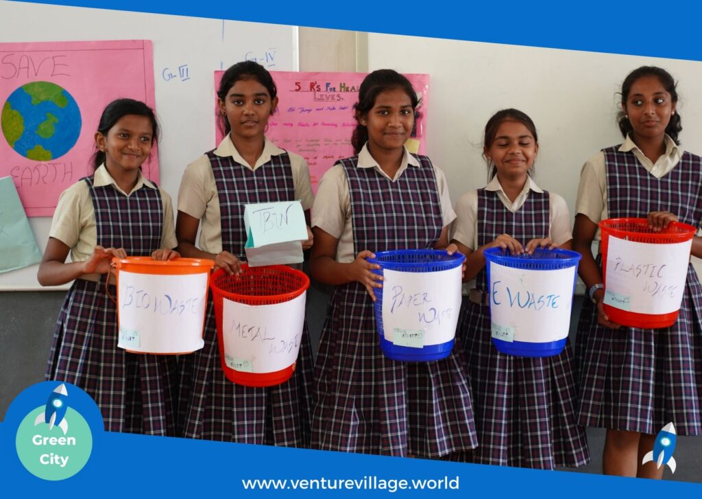 Students of Grade 6 and 7 present ideas on waste segregation